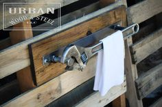 Industrial Wrench Towel Rack by urbanwoodandsteel on Etsy https://www.etsy.com/listing/205166466/industrial-wrench-towel-rack