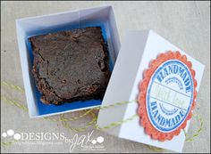 Another view of Jaclyn's neat treat boxes! See the brownie inside? Neat! She used the Handmade Seal stamp set from TechniqueTuesday.com to do the stamping on the box.