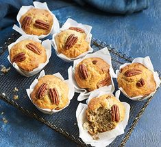 Make these moreish banana muffins for an easy breakfast or a snack on the go. They're also great for lunchboxes and will prove popular with the whole family Muffin Recipes, Brunch Recipes, Healthy Dinner Recipes, Healthy Snacks, Healthy Cake, Healthy Muffins, Bbc Good Food Recipes, Cooking Recipes, Bbc Recipes