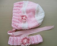 Maisie Baby Bonnet size 3- 6 months 20 grams each of dk yarn in two contrast colours 4mm needles Headband Cast on 74 stitches ...