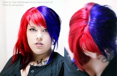 Awesome red and blue hair color by Tyler Steffensen at Array Salon SLC UT