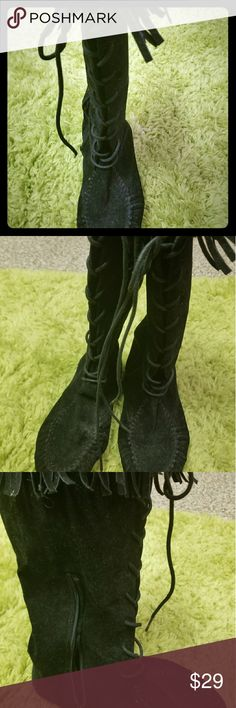 Moccassin fringe boots Wore 1x. Comfortable.. tie up the front side zipper. Shoes Moccasins