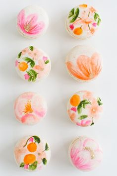 coral and pink floral macarons