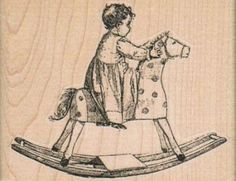 Baby On Rocking Horse wood mounted rubber stamp Stamp   Rubber Stamp  14083
