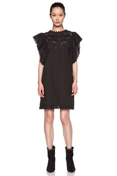 24547c9312f5 Image 1 of Isabel Marant Etoile Scarla French Embroidery Cotton Dress in  Black Cotton Dresses