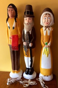 Thanksgiving BLOW MOLD Set~ DON FEATHERSTONE Pilgrims + Native American Indian