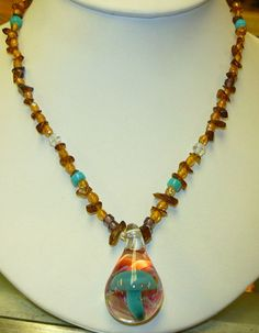 Beaded Glass Mushroom Hemp Necklace handmade by sherrishempdesigns, $20.99