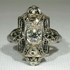 Vintage Art Deco Filigree Diamond Ring, 18k White Gold  I have this beautiful ring.