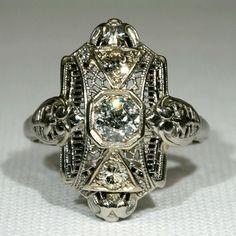 Vintage Art Deco Filigree Diamond Ring, 18k White Gold  I have this beautiful ring.