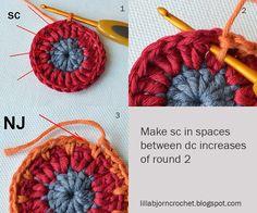 CAL - Circles of the Sun - block 8 in overlay crochet. Designed by LillaBjornCrochet