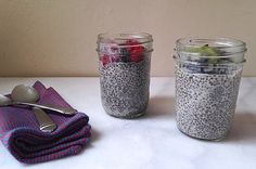 Chia Pudding  1 cup almond (or coconut) milk ¼ cup chia seeds (combine the night before) pure vanilla extract honey, to taste optional toppings: 1/4 cup fruit (like raspberries or kiwi) and chopped dark chocolate