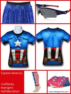 Captain America running costume ideas - superheroesstuff.com, Sparkle Athletic, Oakley, and New Balance