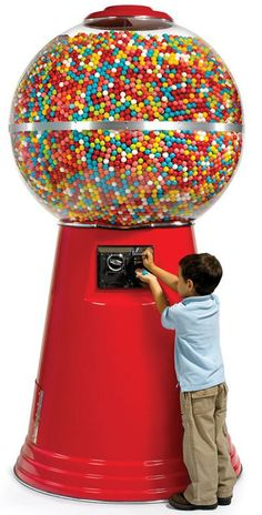 The Gumball Machine. DescriptionLifetime GuaranteeThe same monolithic vending machine found in arcades, amusement parks, and novelty shops, this is the tall gumball machine that holds over gumballs. Nanu Nana, Bubble Gum Machine, Candy Dispenser, Hammacher Schlemmer, Gumball Machine, Candy Shop, Candyland, Automata, Cool Gadgets