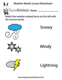 Preschoolers have to match the weather related items on the left in this free worksheet with the correct words on the right.