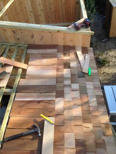 Creating a bike/motorbike shed with cedar shingles and cedar cladding Motorbike Shed, Cedar Cladding, Cedar Shingles, Sheds, Tiny Houses, Fun Projects, Landscapes, House Ideas, House Design