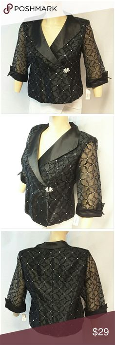 """40% BUNDLE DISCOUNT! FREE SHIPPING ON BUNDLES!! *PLUS* NEW WITH TAG, DRESS BARN WOMAN, Formal Fancy Blazer, size 18W See Measurements, silvertone sequins sprinkled throughout in tiny clusters and flower hook eye clasp, wide silky collar and open cuffed sleeve hems, sheer sleeves with tiny velveteen squares, approximate measurements: 25"""" length, 22"""" bust laying flat, 18"""" sleeves.  ADD TO A BUNDLE!?? 40% BUNDLE DISCOUNT! FREE SHIPPING ON BUNDLES!! ?OFFER? 40% less Plus $6 LESS ON BUNDLES for…"""