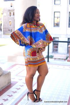 Dashiki Cape Dress ~African fashion, Ankara, kitenge, African women dresses, African prints, Braids, Nigerian wedding, Ghanaian fashion, African wedding ~DKK