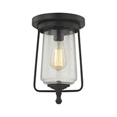 Elk Lighting 81223/1 Hamel 1 Light Flush In Oil Rubbed Bronze With Clear Seedy Glass