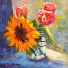 Sunflower Tulip Mason Jar Bold Bright Contemporary Original Oil Painting by KimStenbergFineArt, $250.00