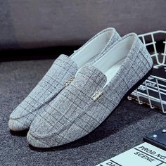 57ad154d2714 PADEGAO Spring Autumm Leisure Soft Comfy Men Loafers Bordered  GinghamFashion Flat Driving Shoes Concise Retro Slip On Shoes