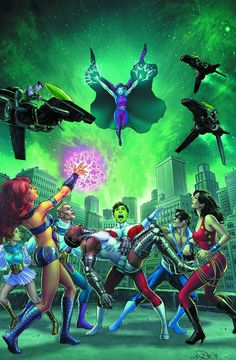 STARRING HEROES FROM CRISIS ON INFINITE EARTHS! Titans Together – no more, when they face the nmight of the Tangent Doom Patrol! Is this the end of what many consider the greatest Titans team in the h