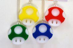 Nintendo Mario Power Up Mushroom Laser Cut Acrylic Necklace