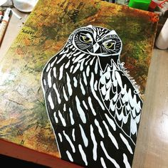 The latest #owl #painting is finished. #birds