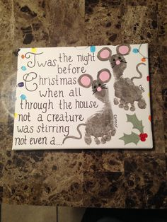 Thumbprint & footprint Twas the Night Before Christmas canvas