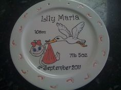 These hand painted and personalised plates are a great gift for any new parent. An announcement of a new baby including time of birth, weight & full names. The plate has tiny cute feet embossed around the edge, these will be high lighted in baby bl. Personalized Plates, Christening Gifts, New Parents, Keepsakes, Announcement, New Baby Products, Color Schemes, Birth, Kids Room