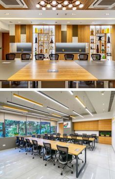 Led Light Fittings, Grey Floor Tiles, White Ceiling, Modular Furniture, Coworking Space, Small Office, Common Area, Office Interiors, Wood Colors