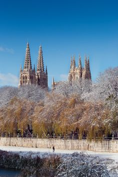 Snowfall of the winter at Cathedral,  Burgos, Spain