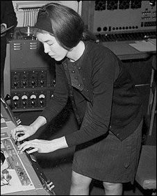 The Dr. Who music was composed by Australian Ron Grainer and arranged by Delia Derbyshire at the BBC's Radiophonic Workshop. Derbyshire made use of test oscillators, primitive filters and tape manipulation to realize the piece.  vintage-synth-hottie-delia-derbyshire