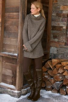 riding pants with boots, cozy sweater