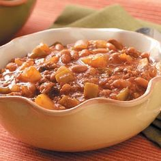 Pineapple Baked Beans, just made this and it was amazing! If you like sweet and sour you will love this recipe. :)