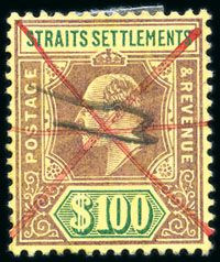 Malaya Straits Settlements 1902-10 $100 Straits Settlements, Commonwealth, Postage Stamps, Empire, Coins, Asia, British, Classic, World
