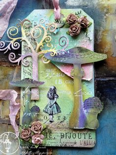 Fairy mushroom inspired Alice In Wonderland themed hand mad gift tag / greetings card. Would make an amazing wedding invitation card for an Alice In Wonderland themed party.