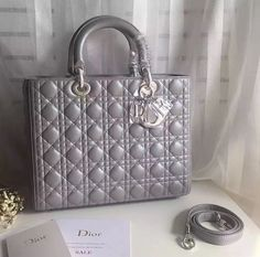 Lady Dior Grey Cannage Bag With Silver