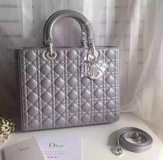 lady dior grey bag large