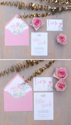 Pink peony watercolor wedding invitation with watercolor calligraphy by Bohemian Mint