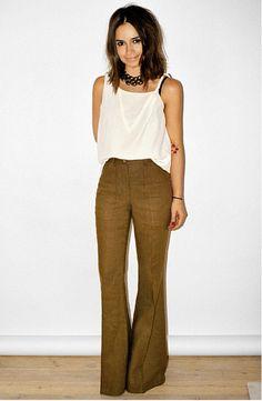 =chocolate pants and cream wide sleeve top