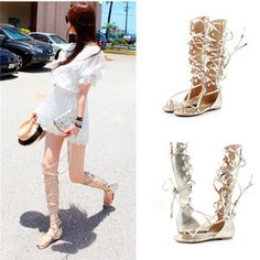 Womens Roman Real Leather Gold Lace UP Flat Knee High Gladiator Sandal Back ZIP