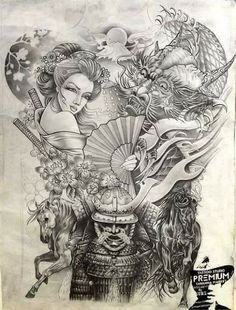 Popular Tattoos and Their Meanings Japanese Tattoo Art, Japanese Tattoo Designs, Japanese Sleeve Tattoos, Asian Tattoos, Leg Tattoos, Body Art Tattoos, Samourai Tattoo, Full Back Tattoos, Japan Tattoo