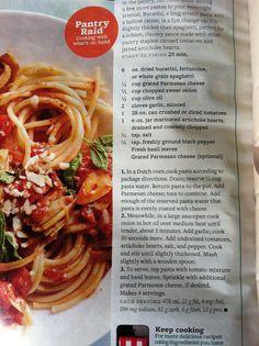 Bhg Artichoke & Tomato Pasta