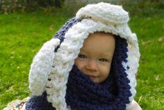 Blue & White Teddy Bear Cowl  Ready To Ship by DandoisLionDeLights, $30.00