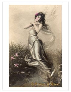 ART NOUVEAU FLYING FAIRY Vintage Postcard Image Photo Greeting Card, Print FR007