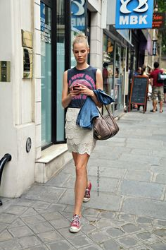 Model Suvi Koponen after Valentino.  Street Style from Paris Fashion Week shows.