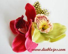 Diablo Jo's, Rockabilly Hair Flower, Hawaiian Orchid, Pin-Up