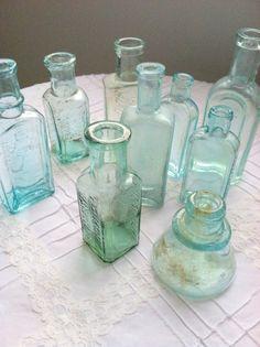 Antique Hand Blown/Dump Dug Aqua Bottles Set of by MariasFarmhouse, $75.00
