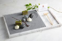 Zen Garden - Matcha opera cake, jasmine macaron, passion fruit marshmallow, coconut dark chocolate by chef Vicky Lau