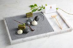 Zen Garden - Matcha opera cake, jasmine macaron, passion fruit marshmallow, coconut dark chocolate by chef Vicky Lau
